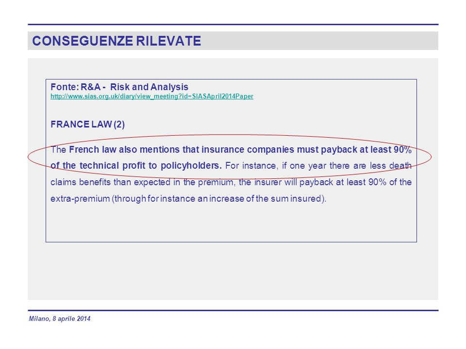 CONSEGUENZE RILEVATE Fonte: R&A - Risk and Analysis http://www.sias.org.uk/diary/view_meeting?id=SIASApril2014Paper FRANCE LAW (2) The French law also