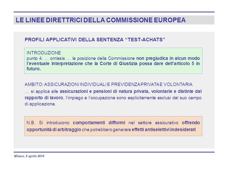 LE LINEE DIRETTRICI DELLA COMMISSIONE EUROPEA AMBITO: ASSICURAZIONI INDIVIDUALI E PREVIDENZA PRIVATA E VOLONTARIA … si applica alle assicurazioni e pe