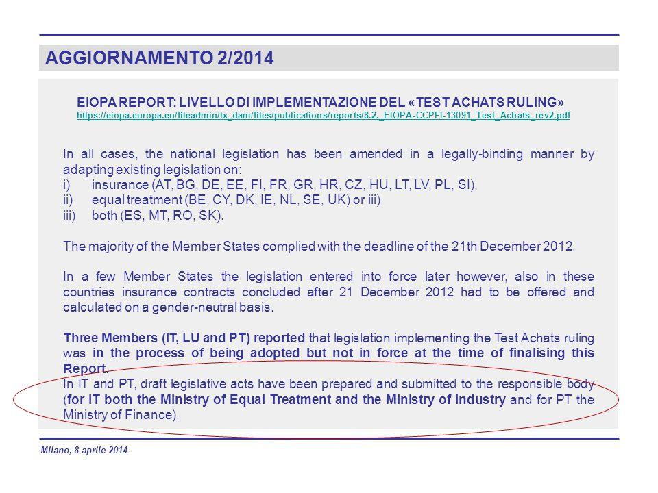 AGGIORNAMENTO 2/2014 EIOPA REPORT: LIVELLO DI IMPLEMENTAZIONE DEL «TEST ACHATS RULING» https://eiopa.europa.eu/fileadmin/tx_dam/files/publications/rep