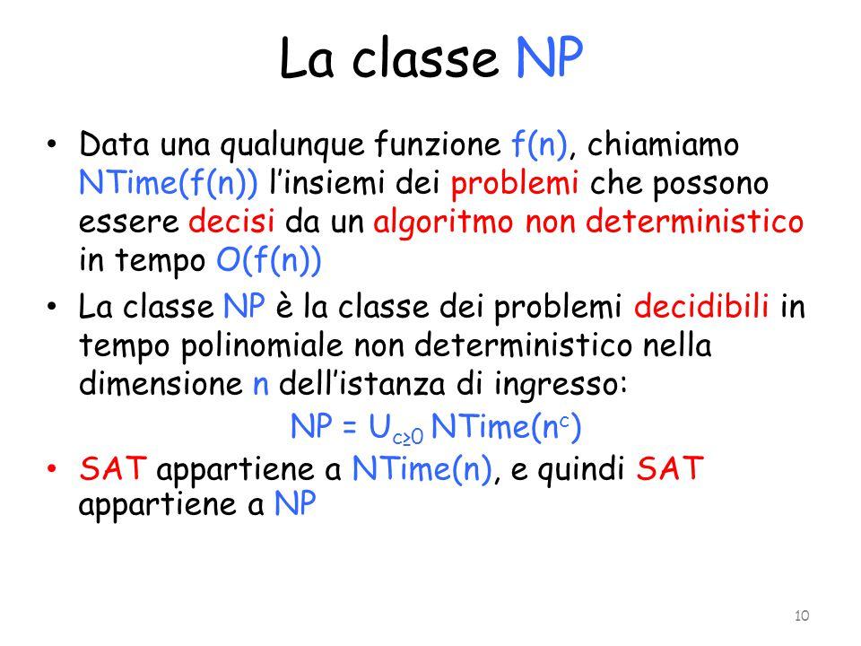 La classe NP Data una qualunque funzione f(n), chiamiamo NTime(f(n)) l'insiemi dei problemi che possono essere decisi da un algoritmo non deterministi