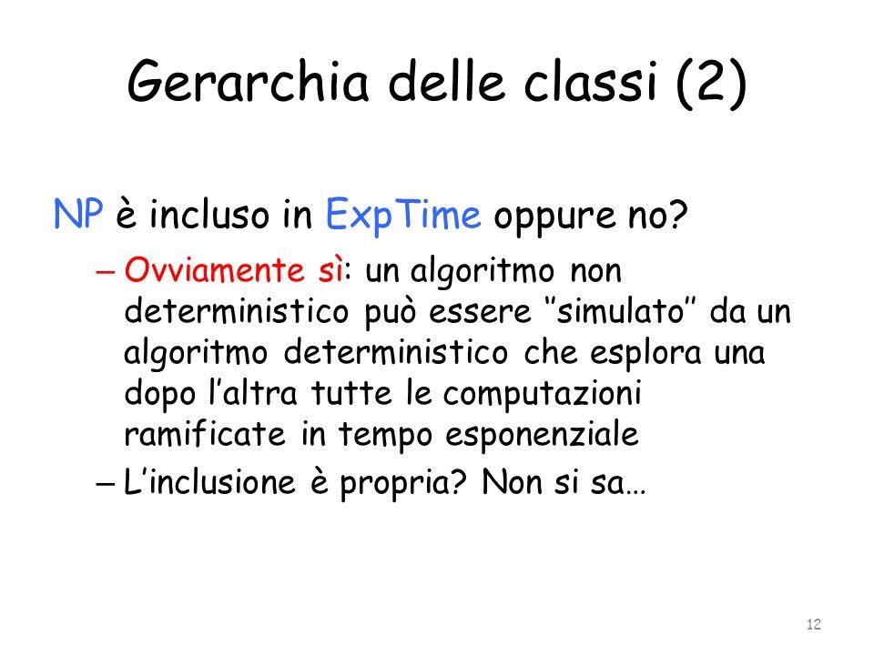 Gerarchia delle classi (2) NP è incluso in ExpTime oppure no? – Ovviamente sì: un algoritmo non deterministico può essere ''simulato'' da un algoritmo