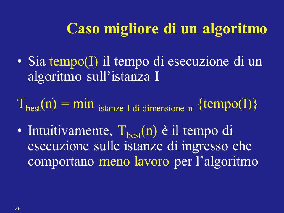 Sia tempo(I) il tempo di esecuzione di un algoritmo sull'istanza I T best (n) = min istanze I di dimensione n {tempo(I)} Intuitivamente, T best (n) è