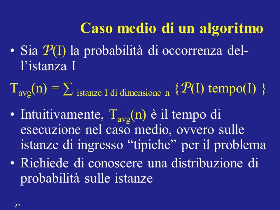 Sia P (I) la probabilità di occorrenza del- l'istanza I T avg (n) = ∑ istanze I di dimensione n { P (I) tempo(I) } Intuitivamente, T avg (n) è il temp
