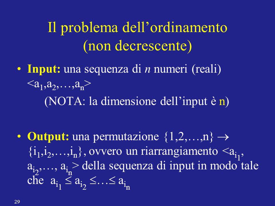 Il problema dell'ordinamento (non decrescente) Input: una sequenza di n numeri (reali) (NOTA: la dimensione dell'input è n) Output: una permutazione {