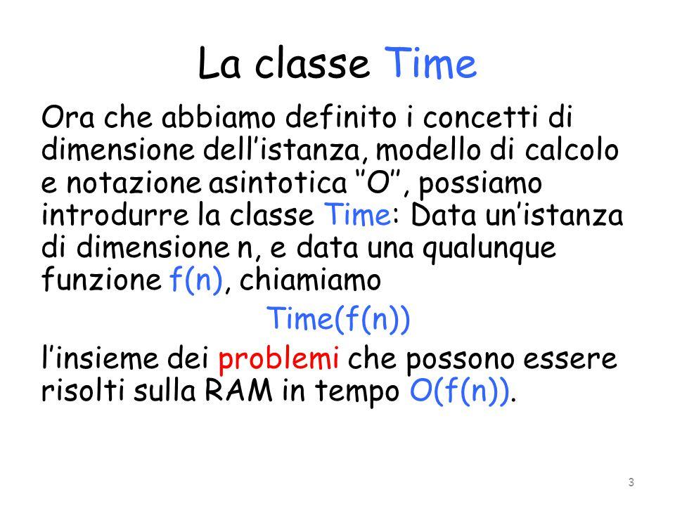 Esempi Il problema della ricerca, ovvero di verificare se un certo elemento è presente in un dato insieme di dimensione n, appartiene a Time(n): basta scorrere tutti gli elementi e verificarne la presenza Lo stesso problema, nel caso in cui gli elementi fossero ordinati, si può dimostrare che appartiene a Time(log n).