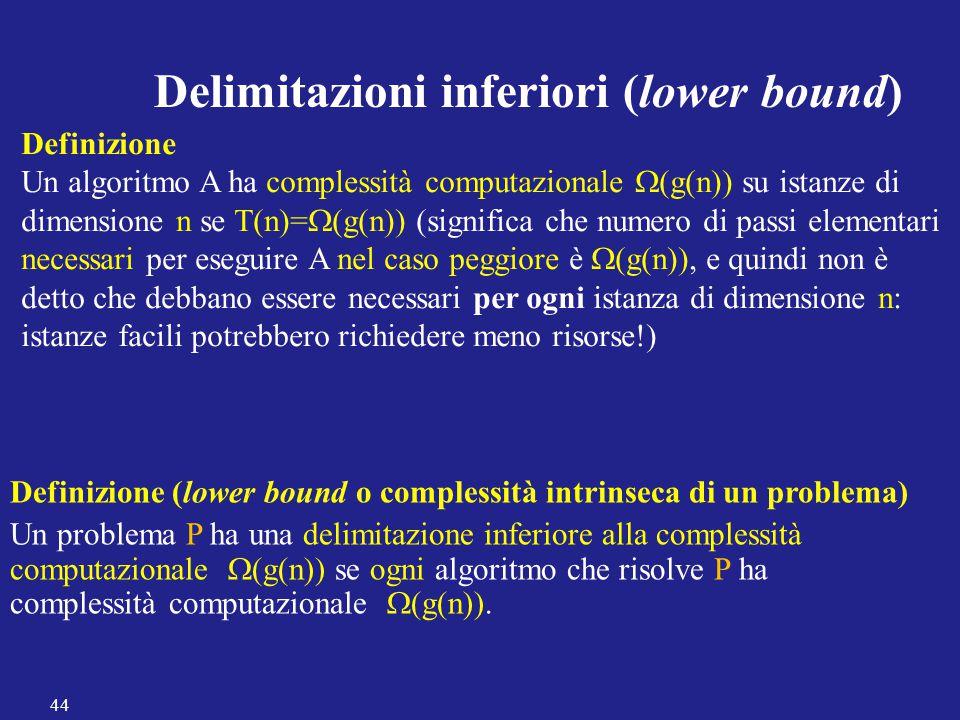Delimitazioni inferiori (lower bound) Definizione Un algoritmo A ha complessità computazionale  (g(n)) su istanze di dimensione n se T(n)=  (g(n)) (