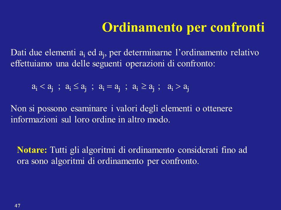 Ordinamento per confronti Dati due elementi a i ed a j, per determinarne l'ordinamento relativo effettuiamo una delle seguenti operazioni di confronto