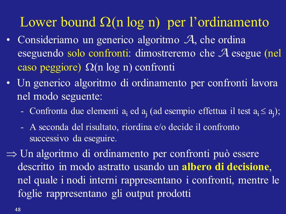 Consideriamo un generico algoritmo A, che ordina eseguendo solo confronti: dimostreremo che A esegue (nel caso peggiore)  (n log n) confronti Un gene