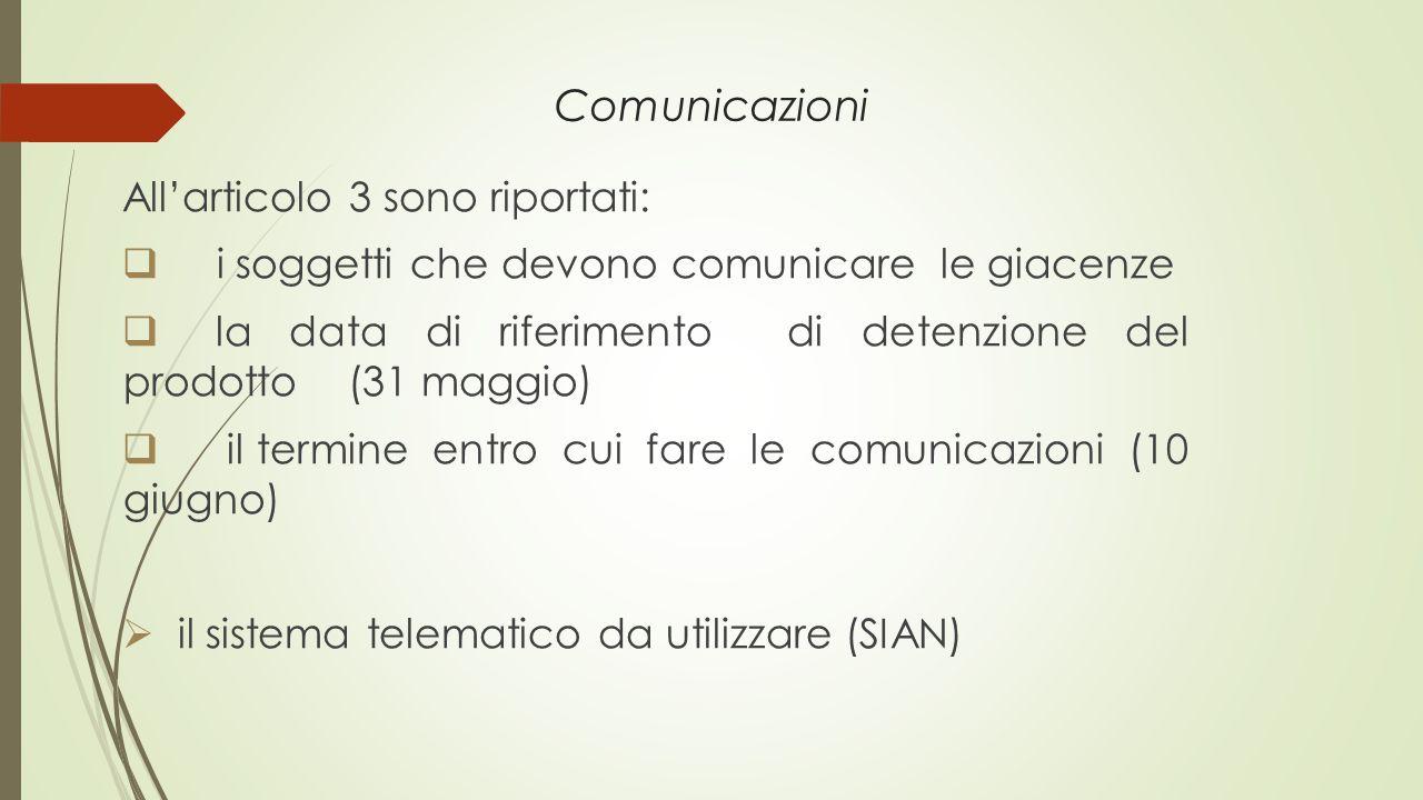 Comunicazioni All'articolo 3 sono riportati:  i soggetti che devono comunicare le giacenze  la data di riferimento di detenzione del prodotto (31 ma