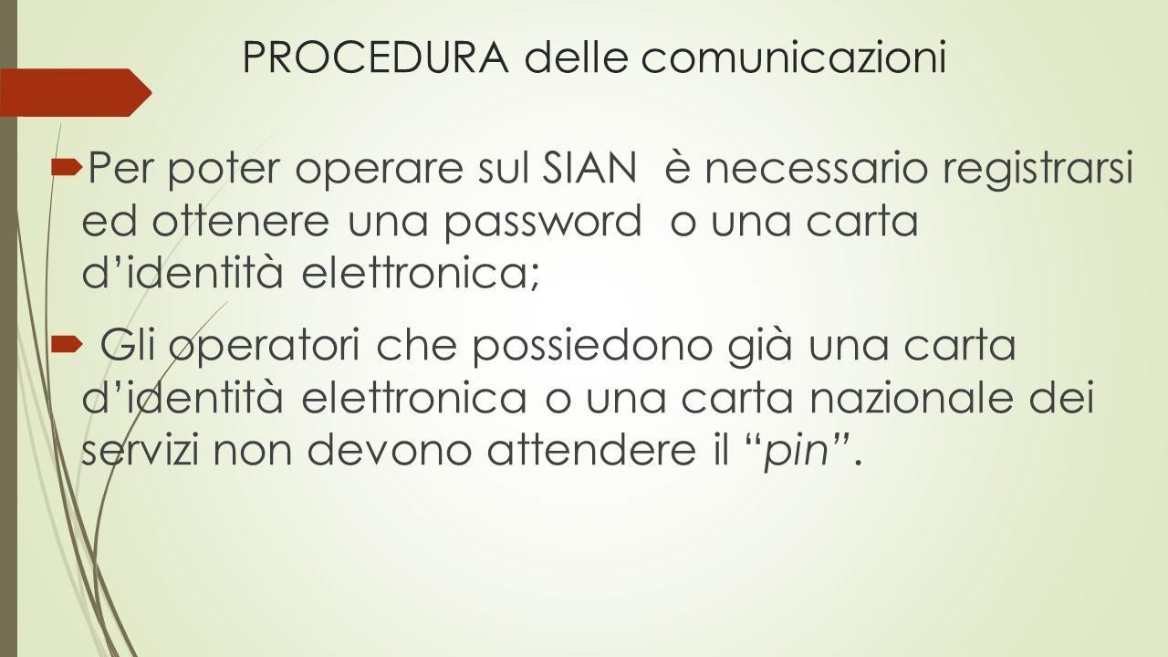 PROCEDURA delle comunicazioni  Per poter operare sul SIAN è necessario registrarsi ed ottenere una password o una carta d'identità elettronica;  Gli