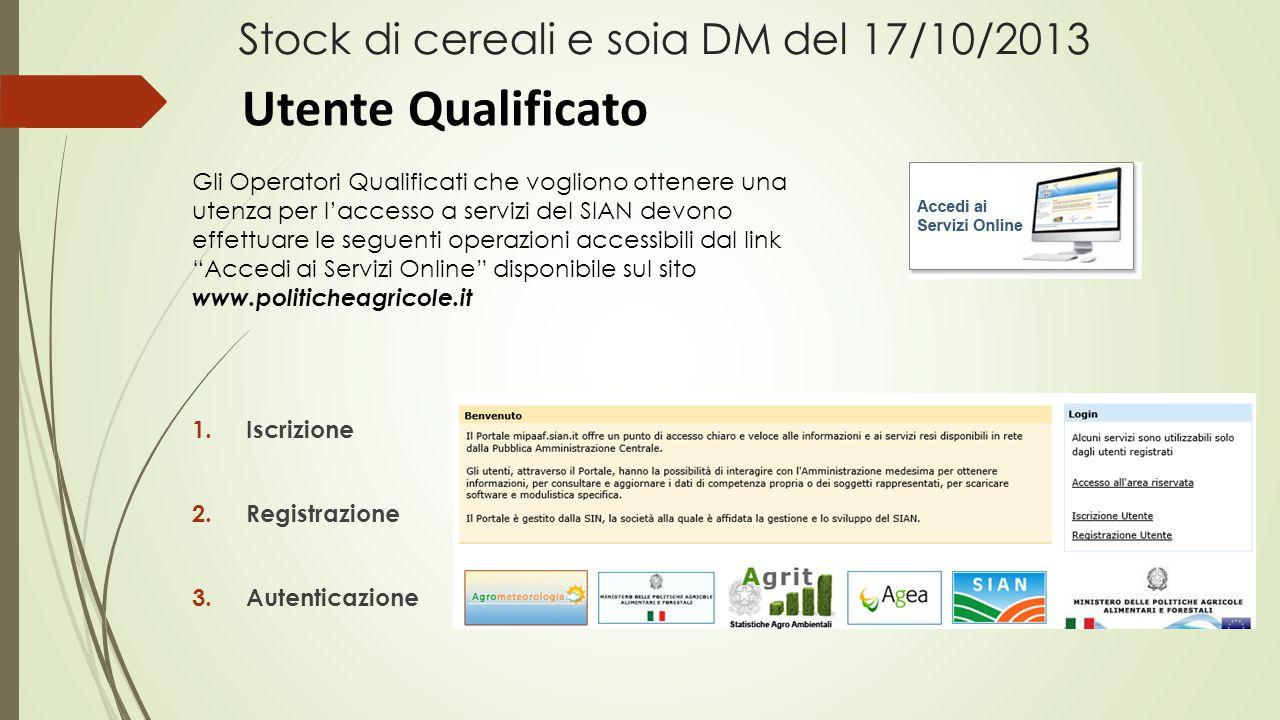 Stock di cereali e soia DM del 17/10/2013 1.Iscrizione 2.Registrazione 3.Autenticazione Gli Operatori Qualificati che vogliono ottenere una utenza per