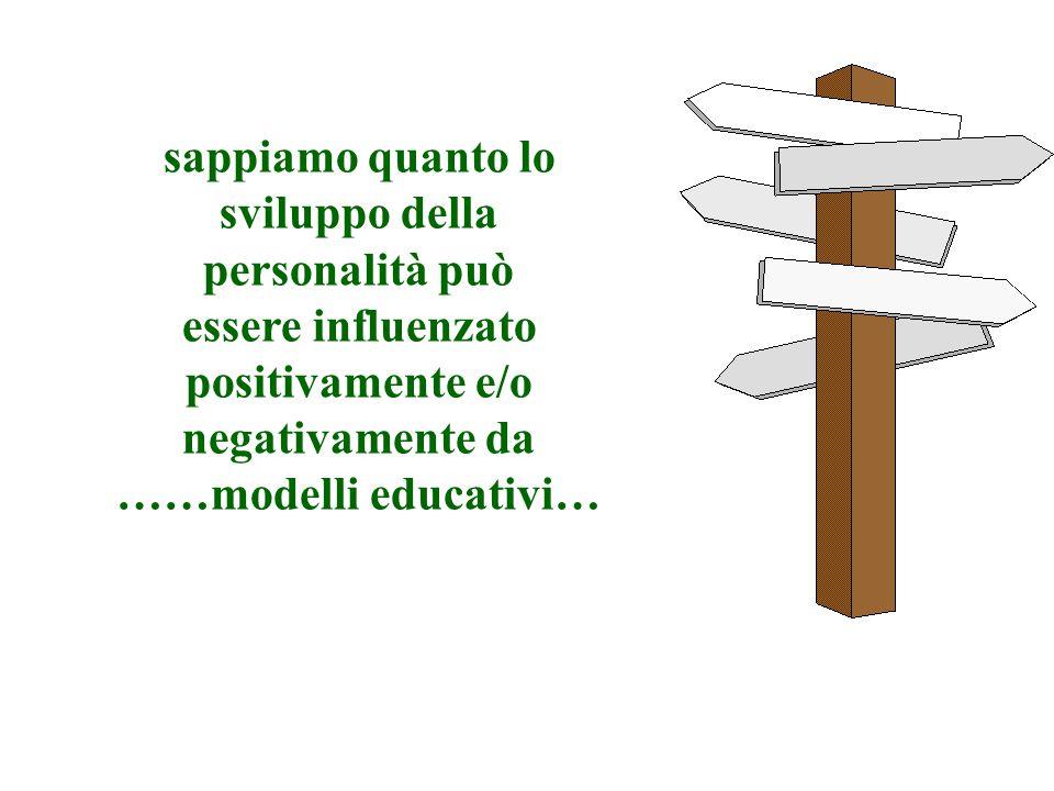sappiamo quanto lo sviluppo della personalità può essere influenzato positivamente e/o negativamente da ……modelli educativi…