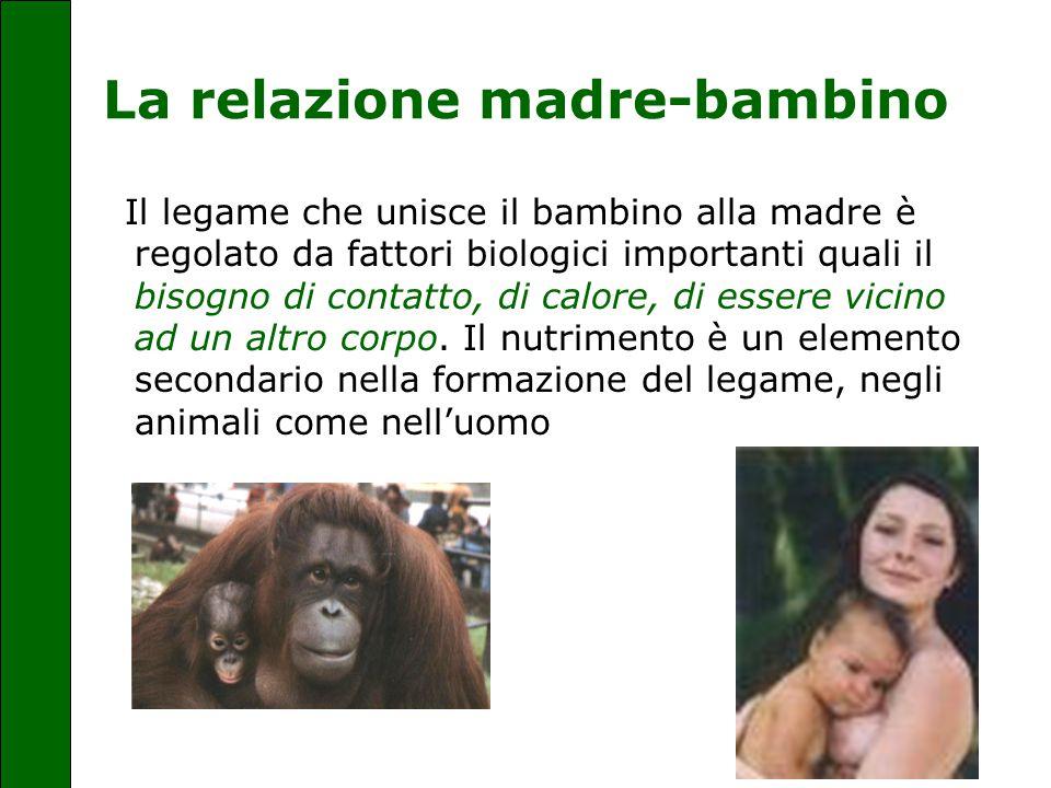 La relazione madre-bambino Il legame che unisce il bambino alla madre è regolato da fattori biologici importanti quali il bisogno di contatto, di calo