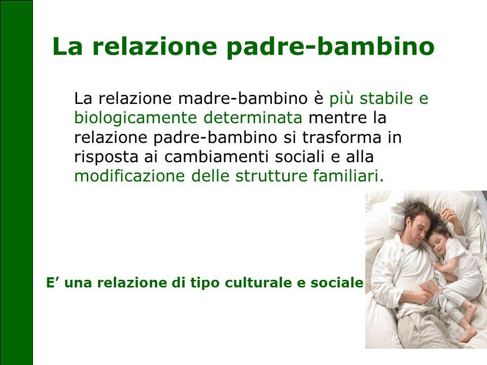 La relazione padre-bambino La relazione madre-bambino è più stabile e biologicamente determinata mentre la relazione padre-bambino si trasforma in ris