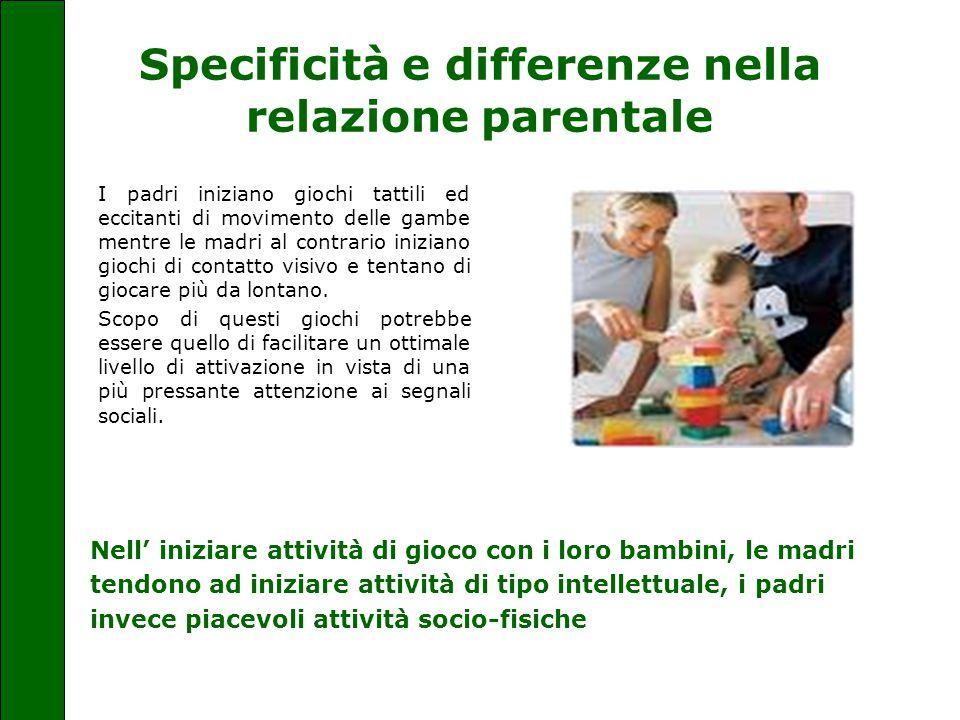 Specificità e differenze nella relazione parentale I padri iniziano giochi tattili ed eccitanti di movimento delle gambe mentre le madri al contrario