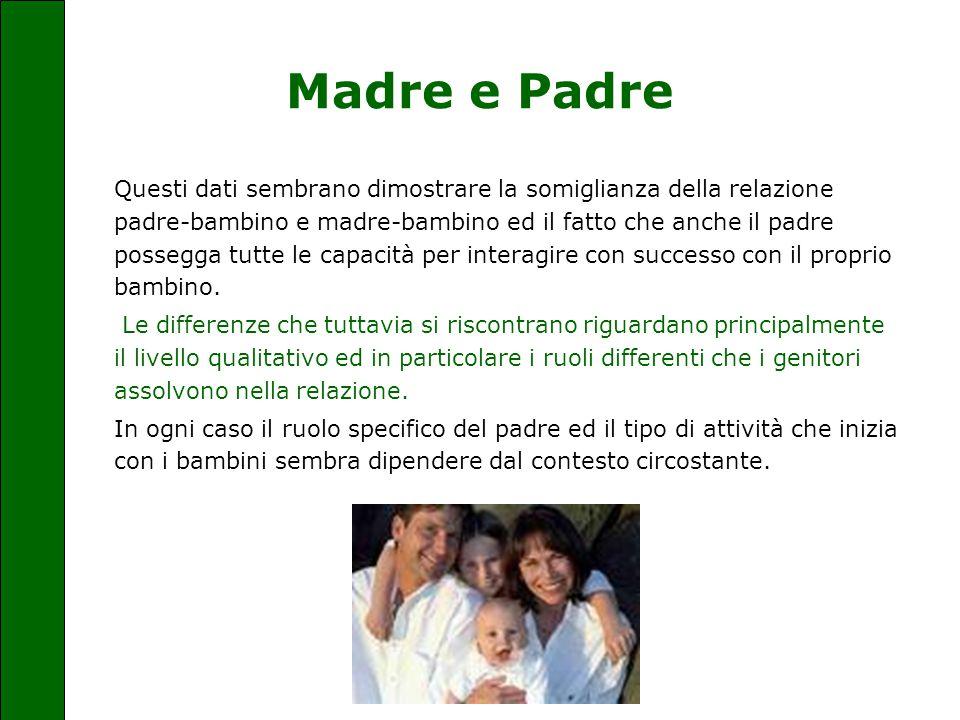 Madre e Padre Questi dati sembrano dimostrare la somiglianza della relazione padre-bambino e madre-bambino ed il fatto che anche il padre possegga tut
