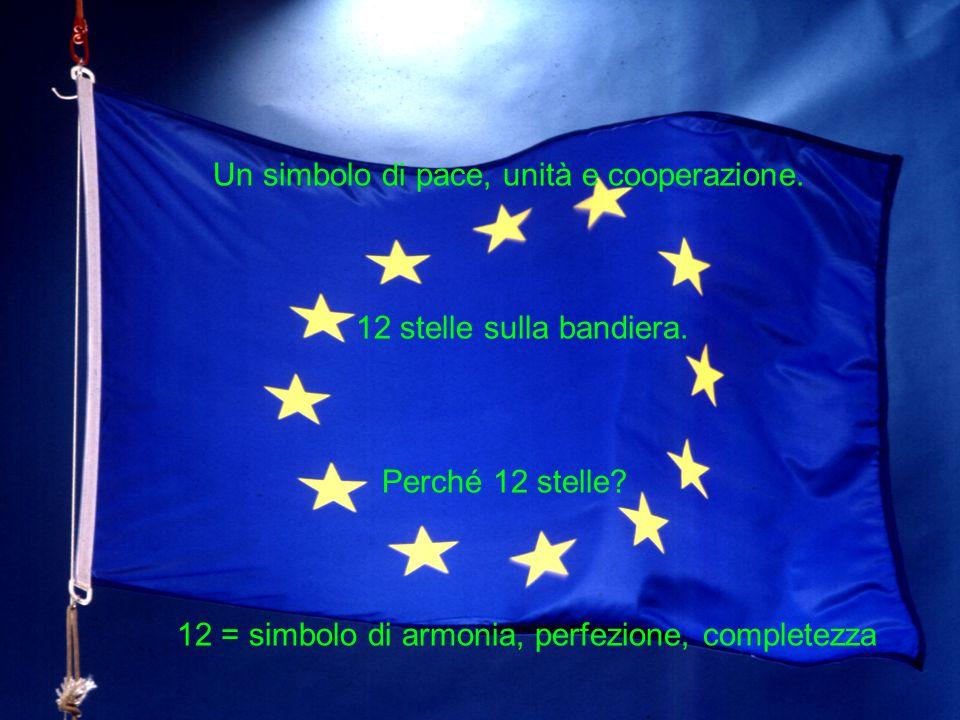Un simbolo di pace, unità e cooperazione. 12 stelle sulla bandiera. Perché 12 stelle? 12 = simbolo di armonia, perfezione, completezza