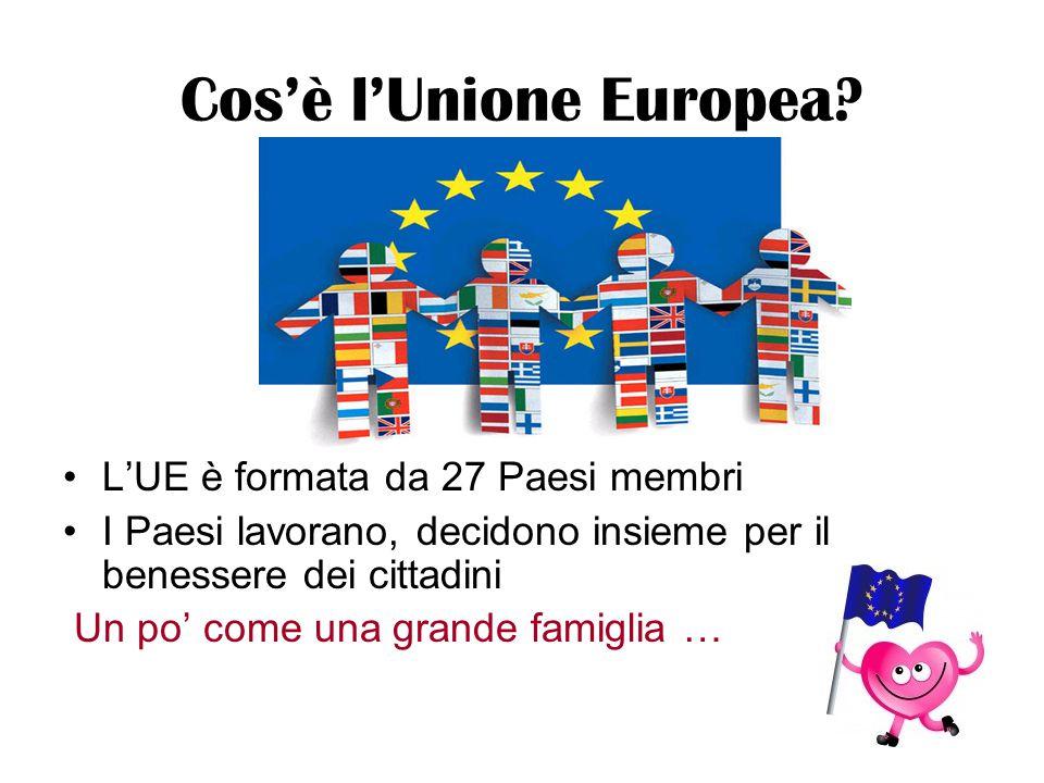 Cos'è l'Unione Europea? L'UE è formata da 27 Paesi membri I Paesi lavorano, decidono insieme per il benessere dei cittadini Un po' come una grande fam