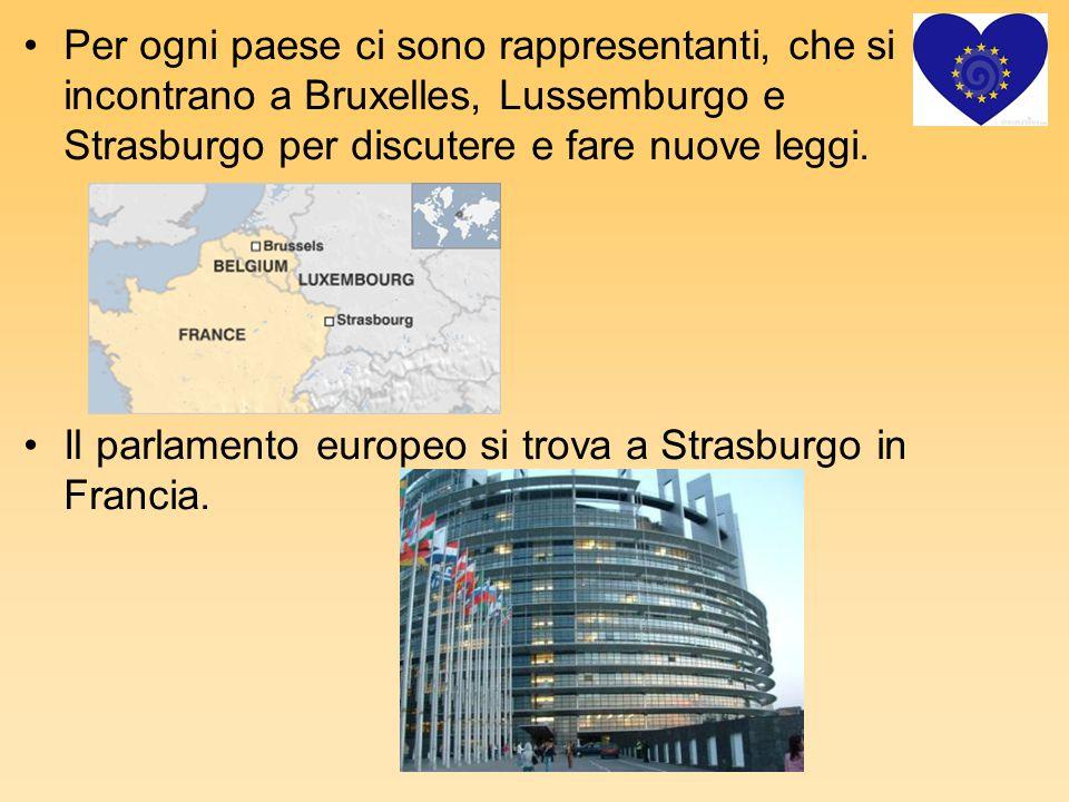 Per ogni paese ci sono rappresentanti, che si incontrano a Bruxelles, Lussemburgo e Strasburgo per discutere e fare nuove leggi. Il parlamento europeo