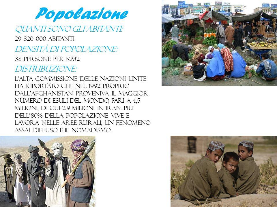 Popolazione Quanti sono gli abitanti: 29 820 000 abitanti Densità di popolazione: 38 persone per km2 Distribuzione: l'Alta commissione delle Nazioni U