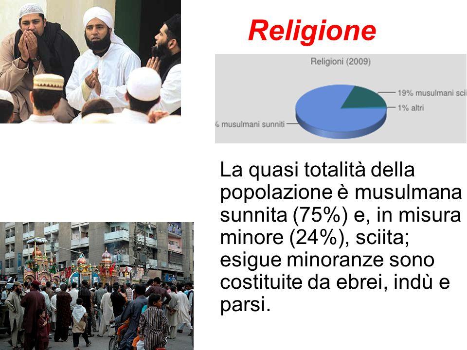 Religione La quasi totalità della popolazione è musulmana sunnita (75%) e, in misura minore (24%), sciita; esigue minoranze sono costituite da ebrei,
