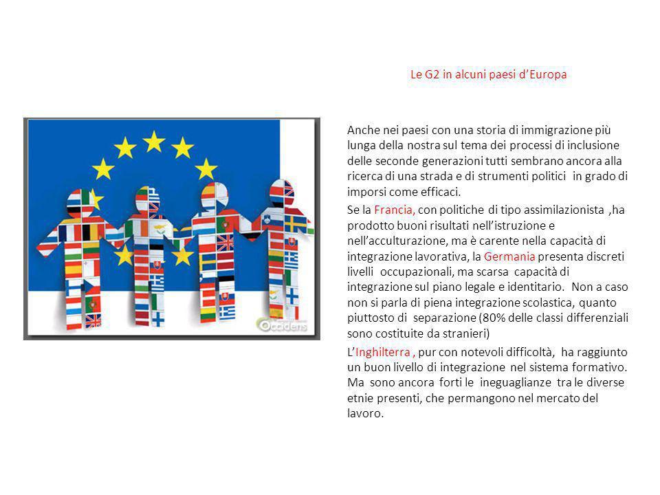 Le G2 in alcuni paesi d'Europa Anche nei paesi con una storia di immigrazione più lunga della nostra sul tema dei processi di inclusione delle seconde
