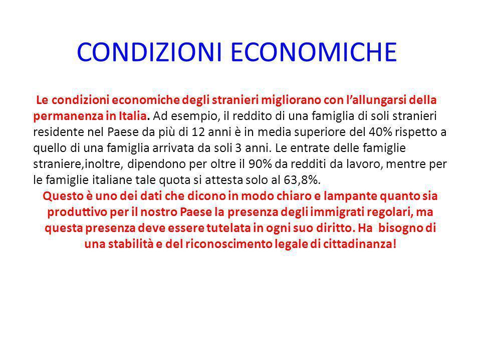 CONDIZIONI ECONOMICHE Le condizioni economiche degli stranieri migliorano con l'allungarsi della permanenza in Italia. Ad esempio, il reddito di una f