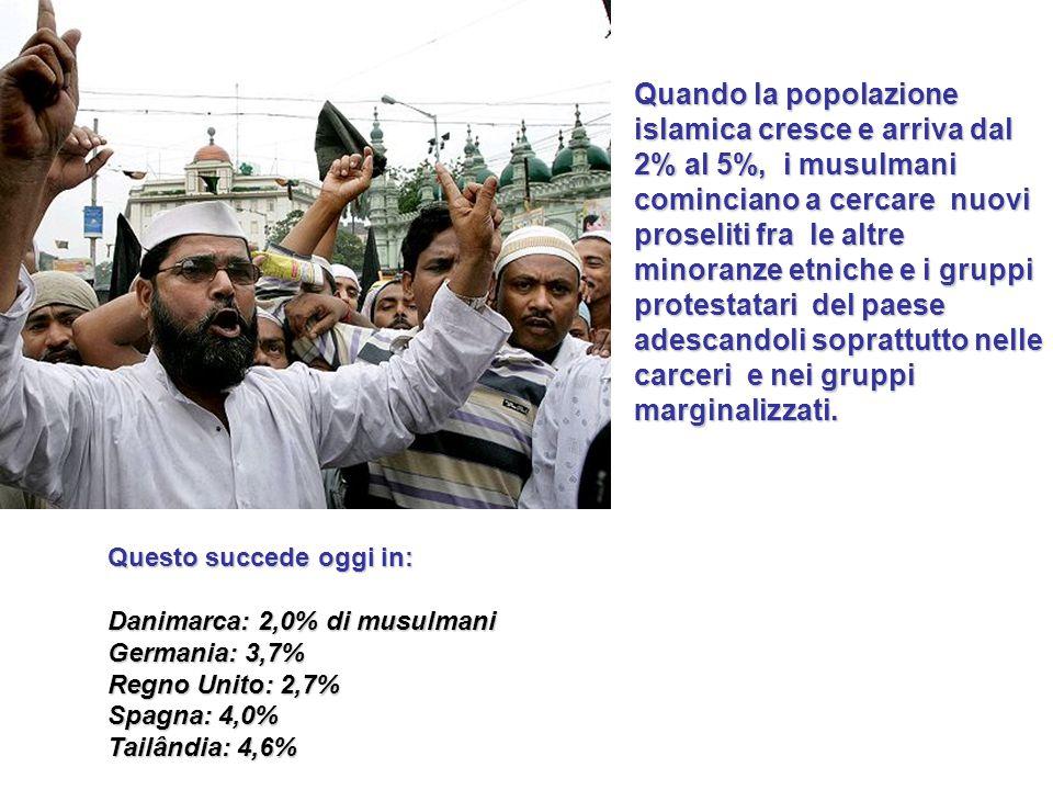 Quando i musulmani arrivano nella fascia del 5% della popolazione cominciano a fare pressione sproporzionata rispetta alla popolazione che rappresentano.