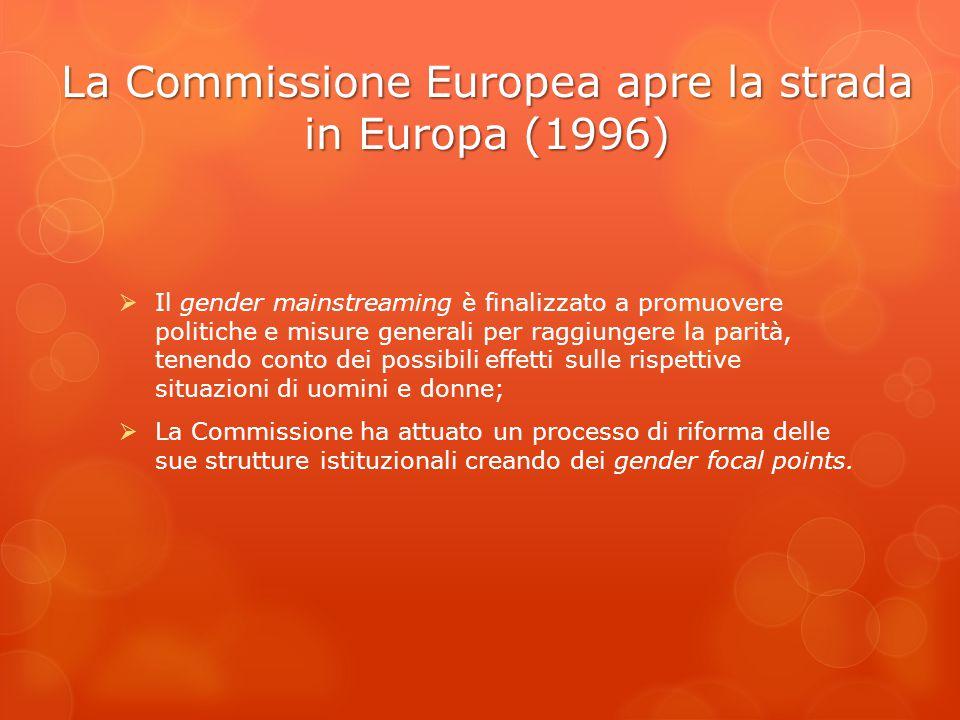 La Commissione Europea apre la strada in Europa (1996)  Il gender mainstreaming è finalizzato a promuovere politiche e misure generali per raggiunger