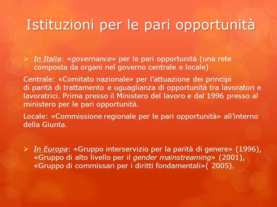 Istituzioni per le pari opportunità  In Italia: «governance» per le pari opportunità (una rete composta da organi nel governo centrale e locale) Cent