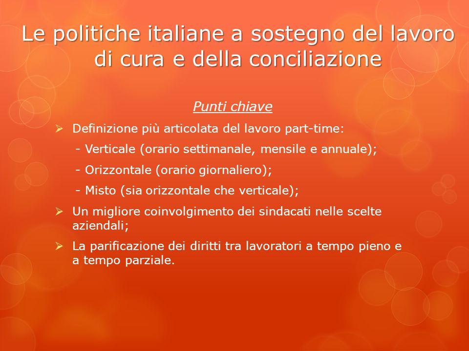 Le politiche italiane a sostegno del lavoro di cura e della conciliazione Punti chiave  Definizione più articolata del lavoro part-time: - Verticale