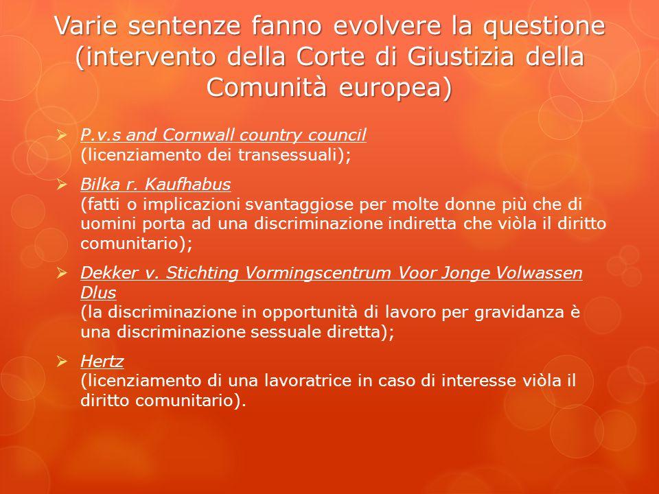 Varie sentenze fanno evolvere la questione (intervento della Corte di Giustizia della Comunità europea) Varie sentenze fanno evolvere la questione (in