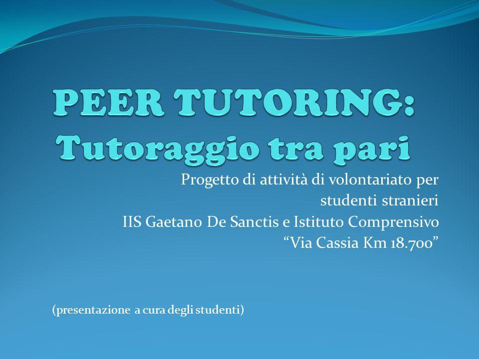 Progetto di attività di volontariato per studenti stranieri IIS Gaetano De Sanctis e Istituto Comprensivo Via Cassia Km 18.700 (presentazione a cura degli studenti)