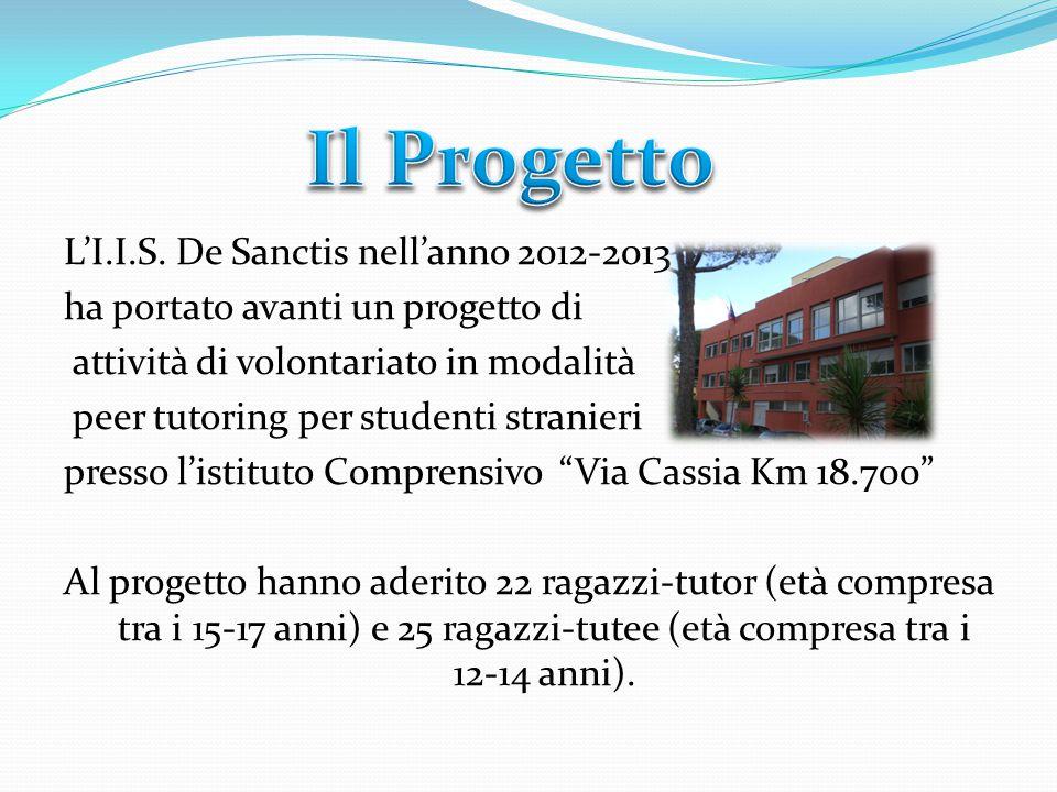 L'I.I.S. De Sanctis nell'anno 2012-2013 ha portato avanti un progetto di attività di volontariato in modalità peer tutoring per studenti stranieri pre