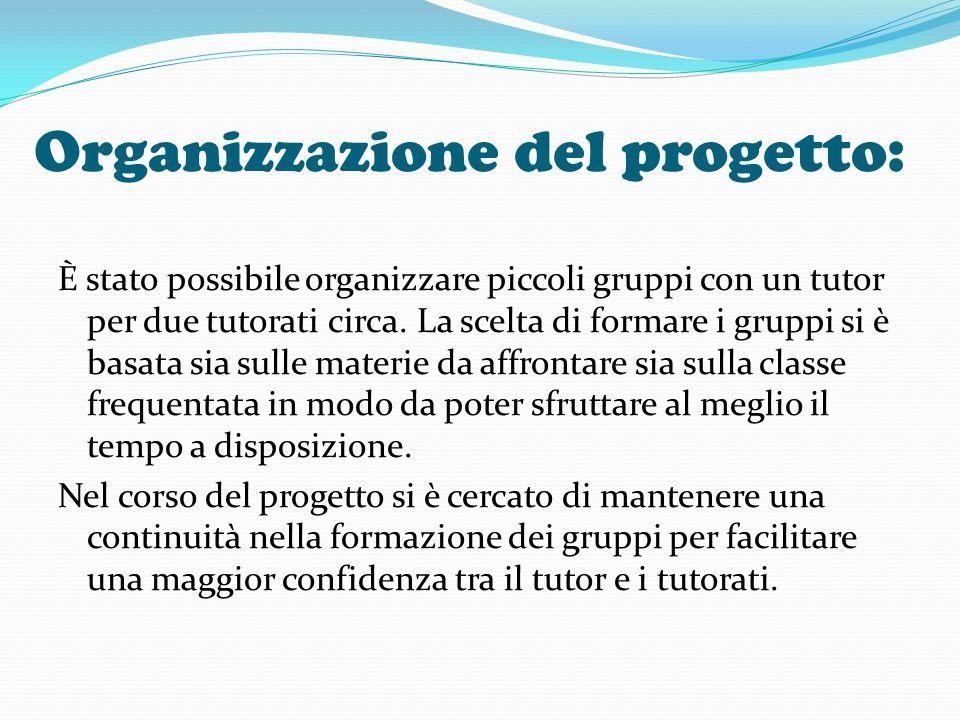 Organizzazione del progetto: È stato possibile organizzare piccoli gruppi con un tutor per due tutorati circa. La scelta di formare i gruppi si è basa