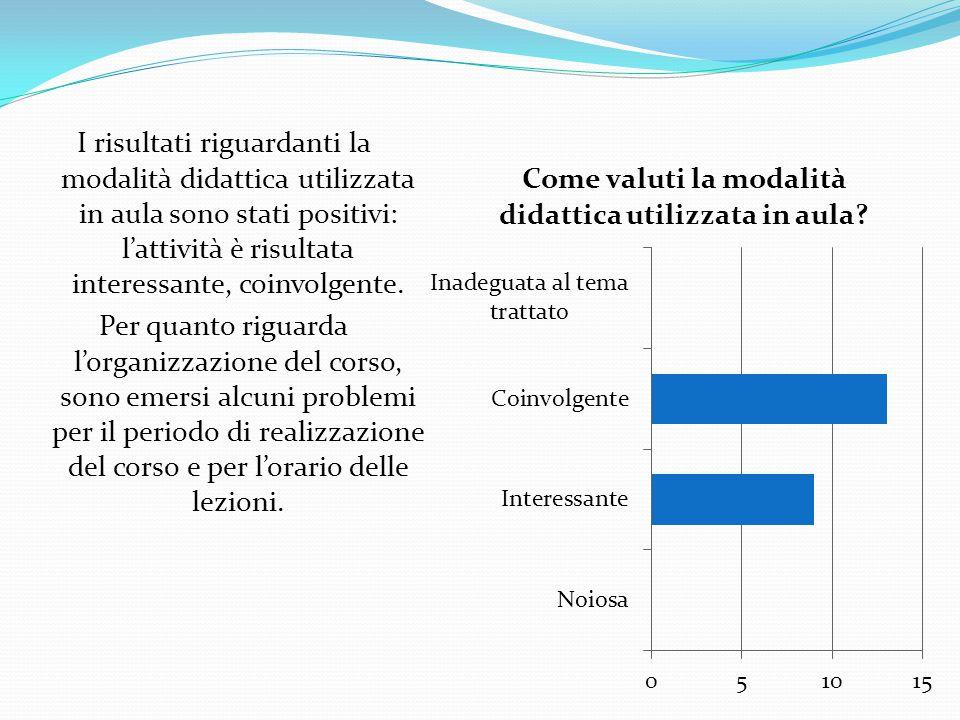 I risultati riguardanti la modalità didattica utilizzata in aula sono stati positivi: l'attività è risultata interessante, coinvolgente. Per quanto ri