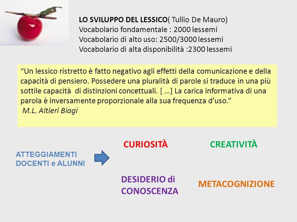 LO SVILUPPO DEL LESSICO( Tullio De Mauro) Vocabolario fondamentale : 2000 lessemi Vocabolario di alto uso: 2500/3000 lessemi Vocabolario di alta dispo