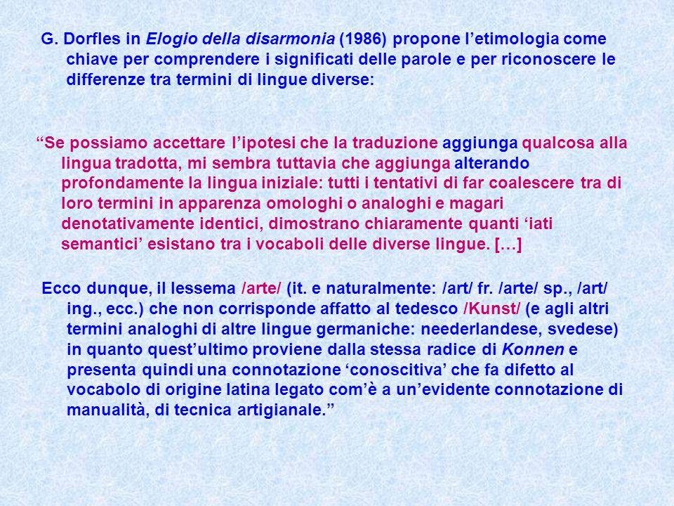 G. Dorfles in Elogio della disarmonia (1986) propone l'etimologia come chiave per comprendere i significati delle parole e per riconoscere le differen