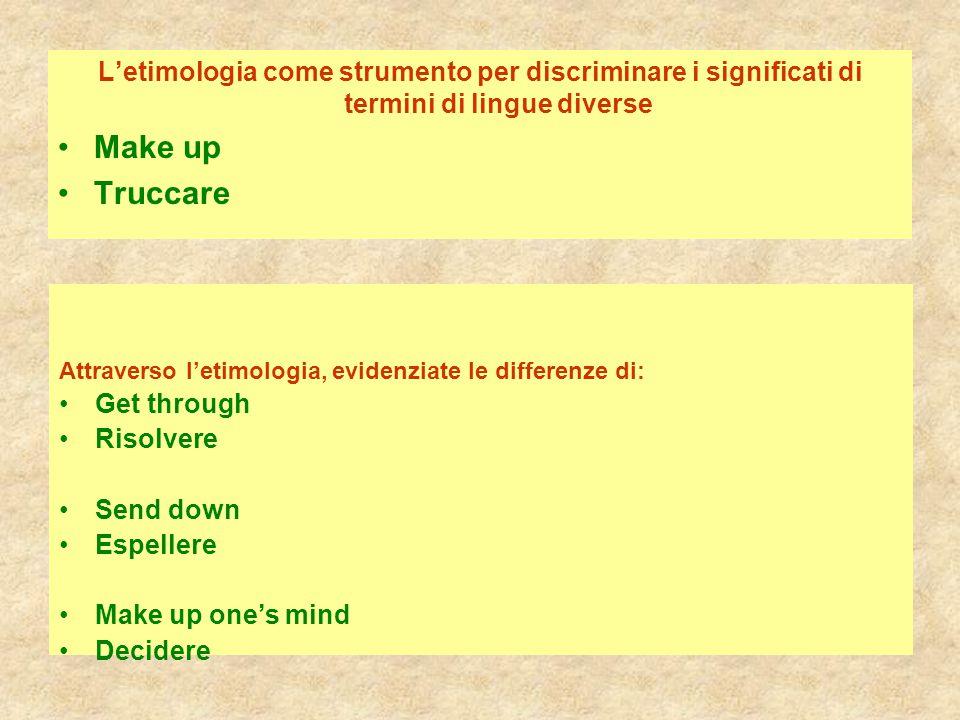 L'etimologia come strumento per discriminare i significati di termini di lingue diverse Make up Truccare Attraverso l'etimologia, evidenziate le diffe