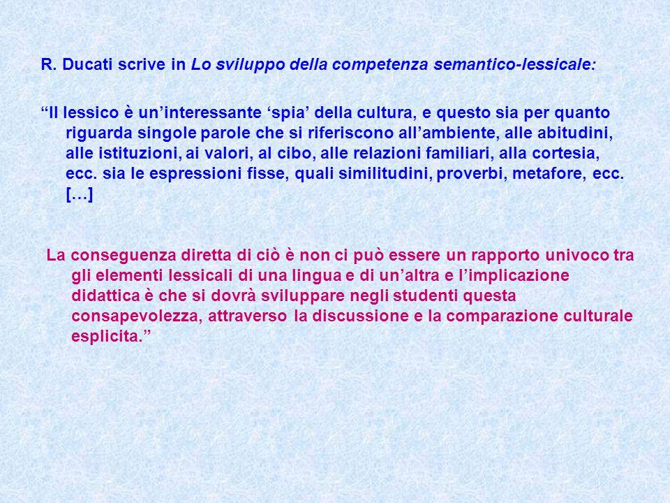 """R. Ducati scrive in Lo sviluppo della competenza semantico-lessicale: """"Il lessico è un'interessante 'spia' della cultura, e questo sia per quanto rigu"""