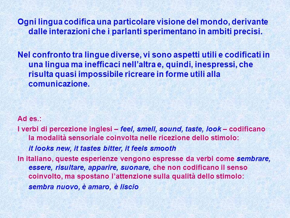 Ogni lingua codifica una particolare visione del mondo, derivante dalle interazioni che i parlanti sperimentano in ambiti precisi. Nel confronto tra l