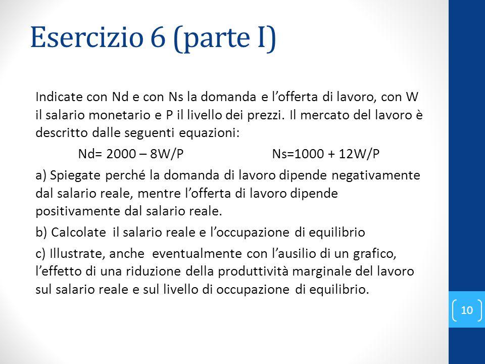 Esercizio 6 (parte I) Indicate con Nd e con Ns la domanda e l'offerta di lavoro, con W il salario monetario e P il livello dei prezzi.