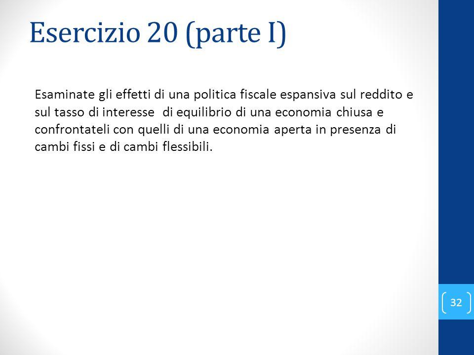 Esercizio 20 (parte I) Esaminate gli effetti di una politica fiscale espansiva sul reddito e sul tasso di interesse di equilibrio di una economia chiusa e confrontateli con quelli di una economia aperta in presenza di cambi fissi e di cambi flessibili.
