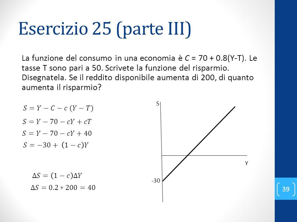 Esercizio 25 (parte III) La funzione del consumo in una economia è C = 70 + 0.8(Y-T).