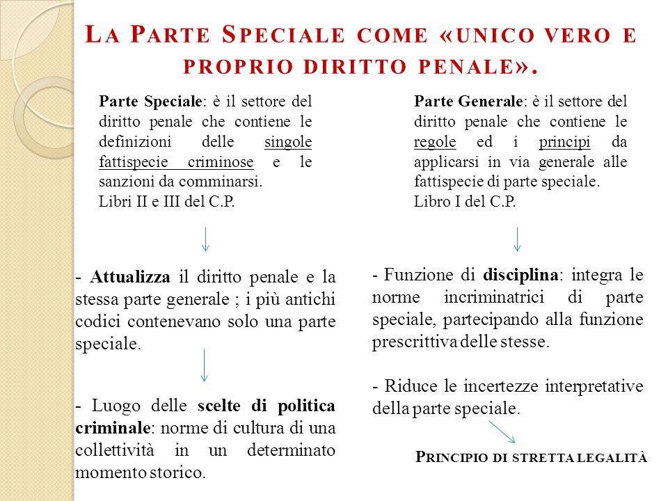 L A P ARTE S PECIALE COME « UNICO VERO E PROPRIO DIRITTO PENALE ».