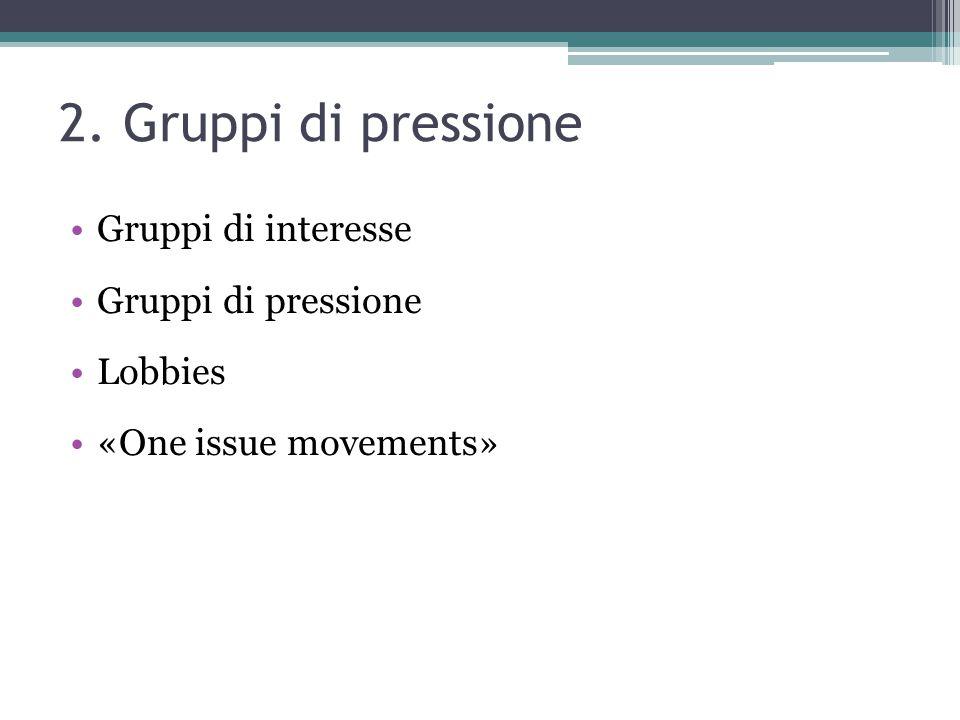 2. Gruppi di pressione Gruppi di interesse Gruppi di pressione Lobbies «One issue movements»