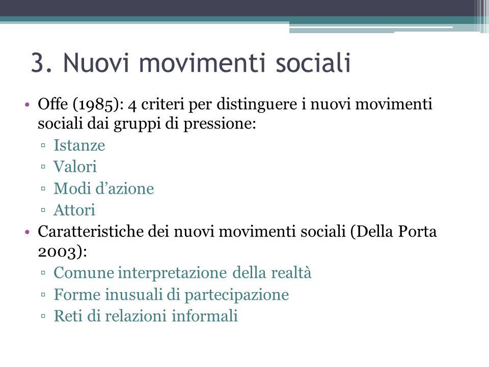 3. Nuovi movimenti sociali Offe (1985): 4 criteri per distinguere i nuovi movimenti sociali dai gruppi di pressione: ▫Istanze ▫Valori ▫Modi d'azione ▫