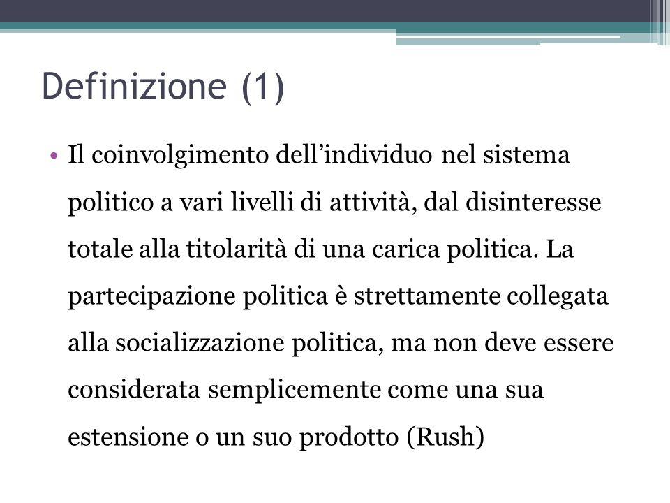 Definizione (1) Il coinvolgimento dell'individuo nel sistema politico a vari livelli di attività, dal disinteresse totale alla titolarità di una caric
