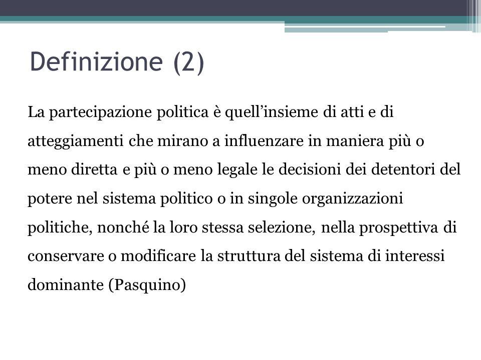 Definizione (2) La partecipazione politica è quell'insieme di atti e di atteggiamenti che mirano a influenzare in maniera più o meno diretta e più o m