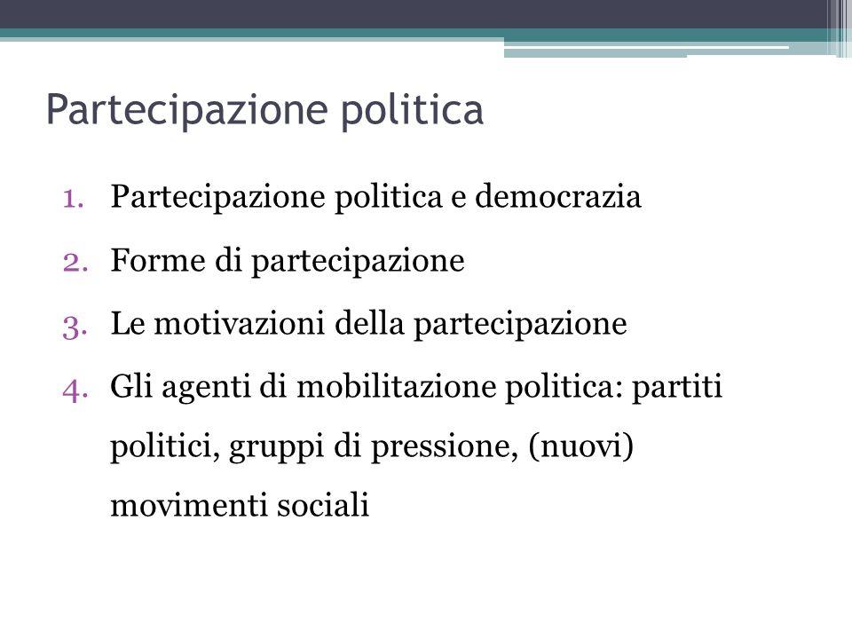 Partecipazione politica 1.Partecipazione politica e democrazia 2.Forme di partecipazione 3.Le motivazioni della partecipazione 4.Gli agenti di mobilitazione politica: partiti politici, gruppi di pressione, (nuovi) movimenti sociali